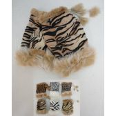 24 Units of Ladies Suede with Fur Fingerless Gloves [Animal Print]