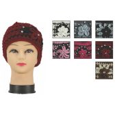 72 Units of Womens Heavy Knit Hats Assorted Colors With Flower And Rhinestones - Winter Beanie Hats