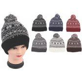 72 Units of Ladies Fashion Snow Flake Heavy Knit Hats - Winter Hats