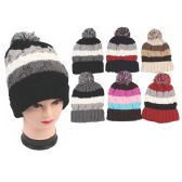 72 Units of Ladies Fashion Heavy Knit Hats Assorted Colors