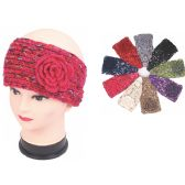 120 Units of Womens Fashion Assorted Color Winter HEadbands With FLower - Ear Warmers