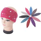 96 Units of Womens Fashion Assorted Color Winter HEadbands With Stones - Ear Warmers