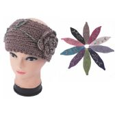 72 Units of Womens Fashion Assorted Color Winter Headband With Shimmery Flower - Ear Warmers