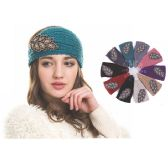 72 Units of Womens Fashion Assorted Color Winter Headband With Shimmery Feather - Ear Warmers