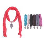 72 Units of Ladies Pendant Fashion Scarf Assorted Colors - Winter Sets Scarves , Hats & Gloves