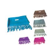 60 Units of Womens Fashion Scarf With Fringes Assorted Solid Colors - Winter Scarves