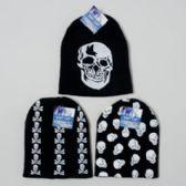 144 Units of Hat Black Knit Cap 3asst Skull Print Designs Hangtag With/j-hook