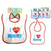"288 Units of I Love Mommy Baby Bib 9x12.5"" H 4asst Clr - Baby Accessories"