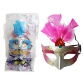 144 Units of MASK WITH GLITTER RED PK PUR GOL SIL BL 30132 - Masks