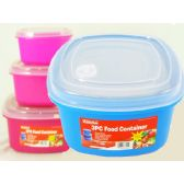 48 Units of assorted colors 3 Piece Square Food Container - Food Storage Bags & Containers