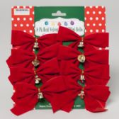 48 Units of Bow Velvet 8pk W/mini Bell 4x5in 2ast Plain Red Or W/glitter Christmas Tie-on Card