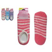 144 Units of Women's Slipper Fuzzy Sock W/ Rubber Grippers