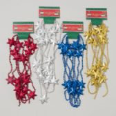 96 Units of Garland Bead W/stars 9ft 4ast Colors Red/gold/silver/blue Gov Christmas Tie On Card - Christmas Novelties