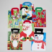 144 Units of Gift Bag Large Christmas 6ast Christmas Icons With/felt Hat Hndls 10x12.5x5in J-hook/upc Label