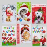 144 Units of Gift Bag Pet Christmas 6ast Xlarge 13x18x4in 4dog/2cat Jhook/upc Label