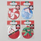 96 Units of Gift Card Holder Ornament Shaped 2pk 5.5in D 4ast Christmas Dsgns W/string 4cprint/glitter/pop