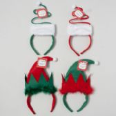 96 Units of Headband Elf Or Spiral Tree 4ast Red/grn Xmas Hangtag/j-hook - Christmas Novelties