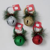 96 Units of Jingle Bell Ornament Jumbo 3in Glitter W/greens 4colors Xmas Ht - Christmas Ornament
