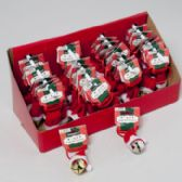 120 Units of Jingle Bell W/santa Hat Necklace 32inl Gold/silver In 40pc Pdq Barbell Header Card - Christmas Novelties