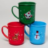 96 Units of Mug Plastic Christmas 3ast Designs In 12pc Tray Upc Label - Christmas Novelties