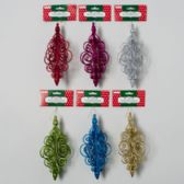 108 Units of Ornament Spiral Chandelier 7.25 In W/glitter 6ast Colors Christmas Tie On Card - Christmas Ornament