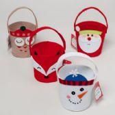 96 Units of Pail Felt 4ast Christmas Characters 4.25 X 4.25 X 3.5 Owl/santa/fox/snowman Upc Hangtg - Christmas Novelties
