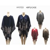 24 Units of Woman's Printed Ponchos Assorted Colors - Winter Pashminas