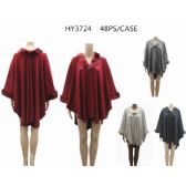 24 Units of Woman's Assorted Color Ponchos - Winter Pashminas and Ponchos
