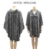 24 Units of Woman's Design Ponchos One Color - Winter Pashminas and Ponchos