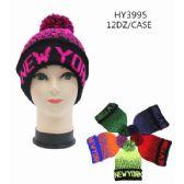 36 Units of Unisex Winter Hat Neon Colors New York - Winter Hats