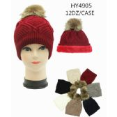 72 Units of Ladies Winter Hat With Faux Fur Lining Assorted Color