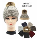 72 Units of Woman's Winter Hat With Faux Fur Lining Assorted Color