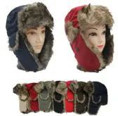 24 Units of Faux Fur Unisex Trapper Hat Assorted Color - Trapper Hats