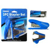 144 Units of 3 Piece Stapler Set W/200 Staples - Staples and Staplers
