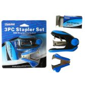 144 Units of 3 Piece Stapler Set 500 Staples - Staples and Staplers