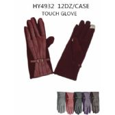 48 Units of Woman's Leather suede Touch Screen Glove Assorted Color - Winter Gloves
