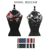 36 Units of Unisex American Flag Scarves Two Assorted Colors - Winter Scarves