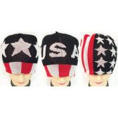 36 Units of Knitted Beanie Hat with Assorted USA Design - Winter Beanie Hats
