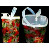 48 Units of Water Jar W/Clear Fruit Design - PLASTIC ITEMS