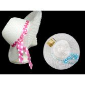 144 Units of Women's Solid Color Hat W/ Polka Dot Ribbon