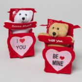 48 Units of Bear In Felt Ribboned Gift Box 2ast Be Mine/love You 6in H Valentine Hangtag