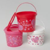 72 Units of Valentine Candy Bucket w/ Lids