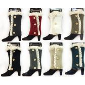 12 Units of Knitted Boot Topper with Lace Flower Leg Warmer - Arm & Leg Warmers