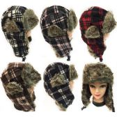 24 Units of Faux Fur Lined Bomber Checker Winter Hat Unisex - Trapper Hats