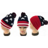 36 Units of Winter Knitted Beanie Hat American Flag Pattern