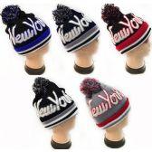 """36 Units of """"New York"""" Beanie Pom Pom Hat - Winter Beanie Hats"""