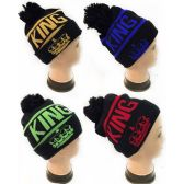 36 Units of Winter Knitted Beanie Hat King Assorted Colors - Winter Beanie Hats