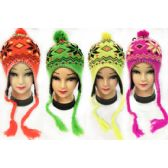 36 Units of Neon Knit Winter Hats Pompom Hats with Ear Flaps