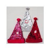 24 Units of 16 Inch Sequin Santa Hat - Christmas Novelties