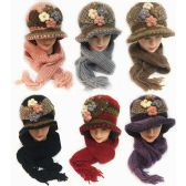 24 Units of Winter Knitted Scarf Hat Set with Four Flower Design - Winter Sets Scarves , Hats & Gloves
